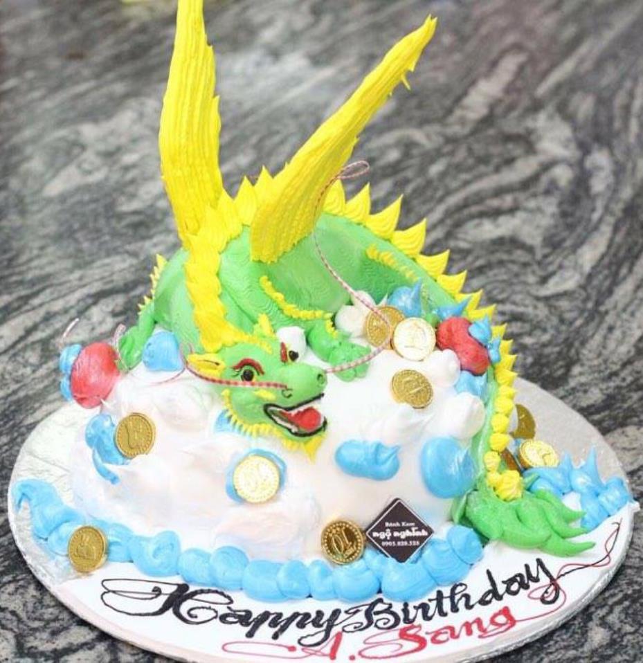 Bánh kem 12 con giáp 2016 hình chú rồng có cánh mừng sinh nhật ...