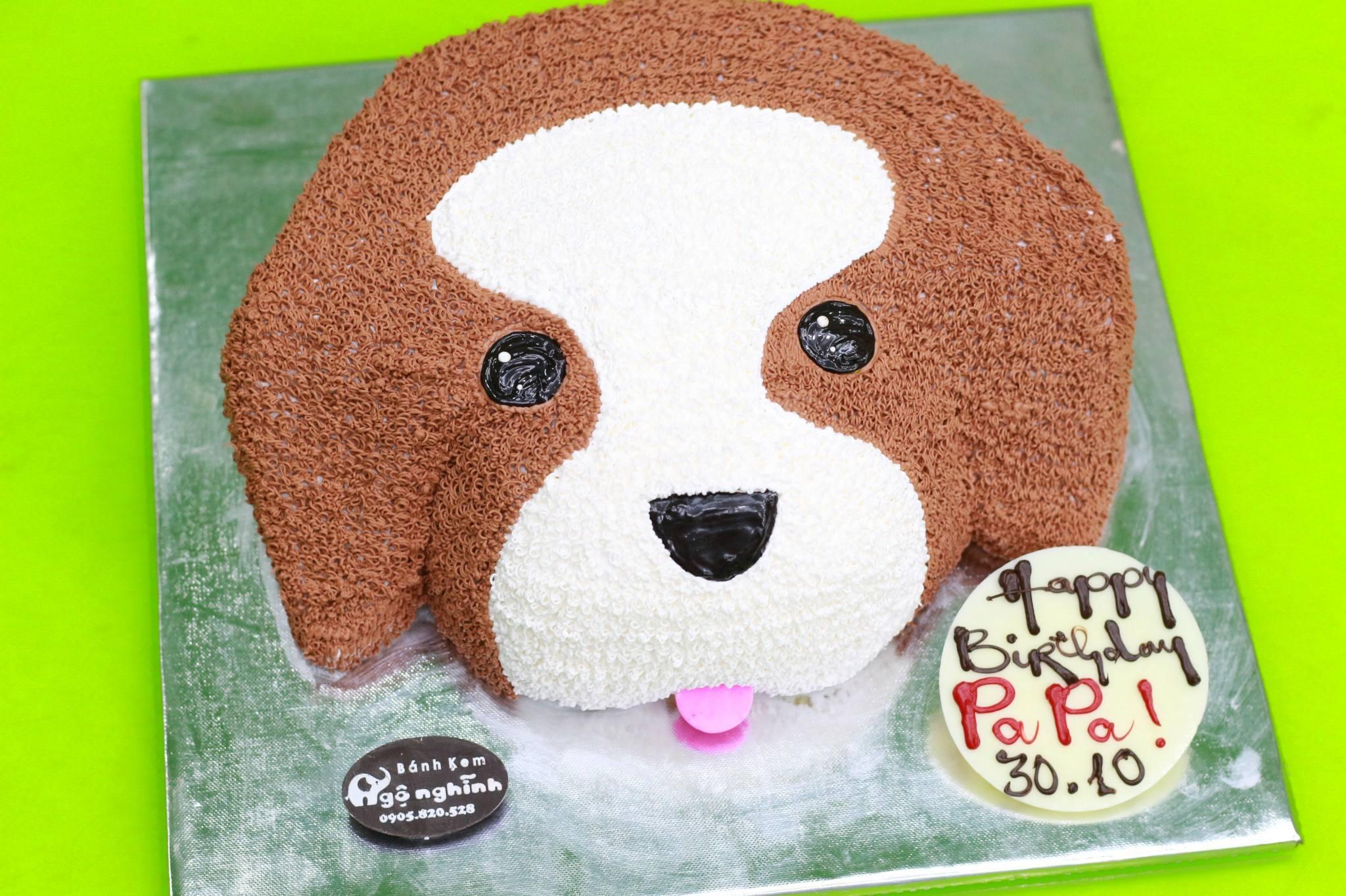 Bánh kem sinh nhật ngộ nghĩnh tạo hình con chó tuổi tuất 12 con giáp   Bánh Kem Ngộ Nghĩnh