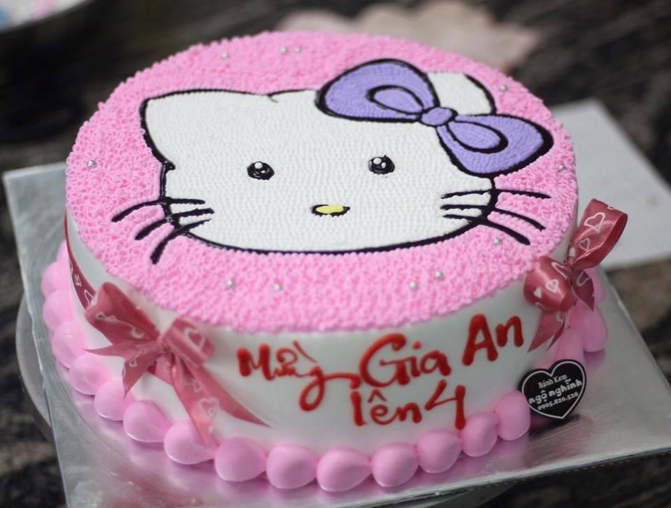 Bánh Kem Sinh Nhật Vẽ Hình Mèo Hello Kitty Màu Hồng Dễ
