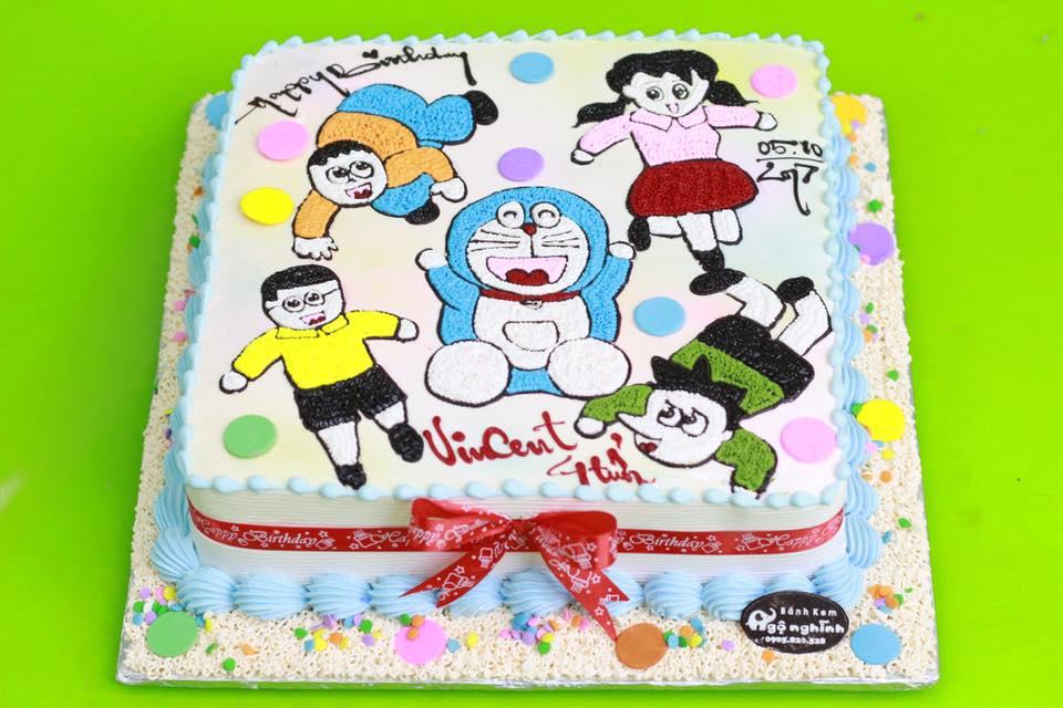 Bánh Sinh Nhật Vẽ Hình Doremon Nobita Xuka Xeko Chaien Ngộ Nghĩnh Dễ
