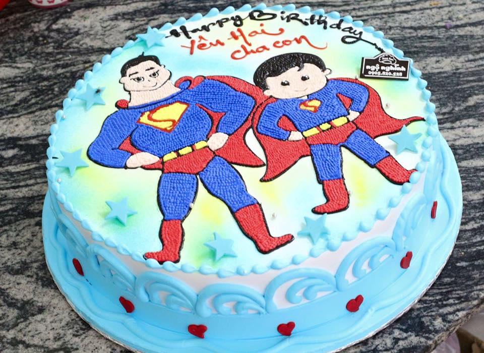 Bánh kem sinh nhật vẽ hình 2 anh em ...