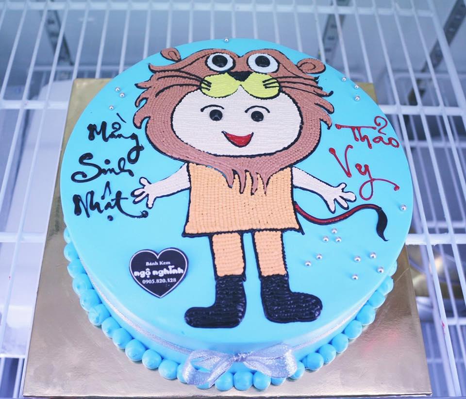 Bánh sinh nhật vẽ hình bé sư tử độc lạ ...