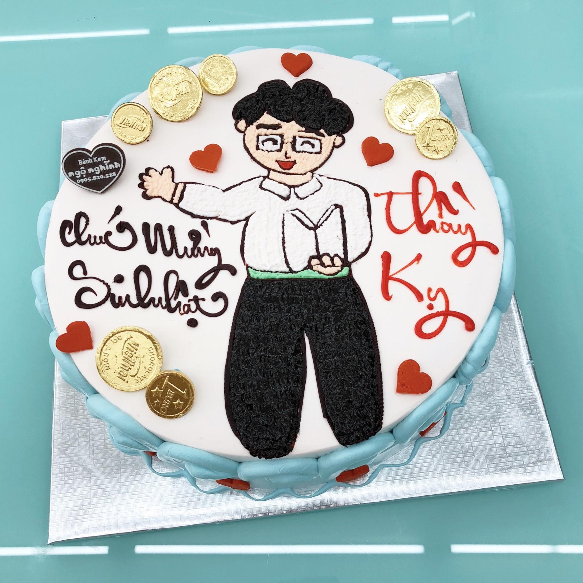 Bánh sinh nhật vẽ hình thầy giáo vui vẻ ngộ nghĩnh tặng thầy nhân ...