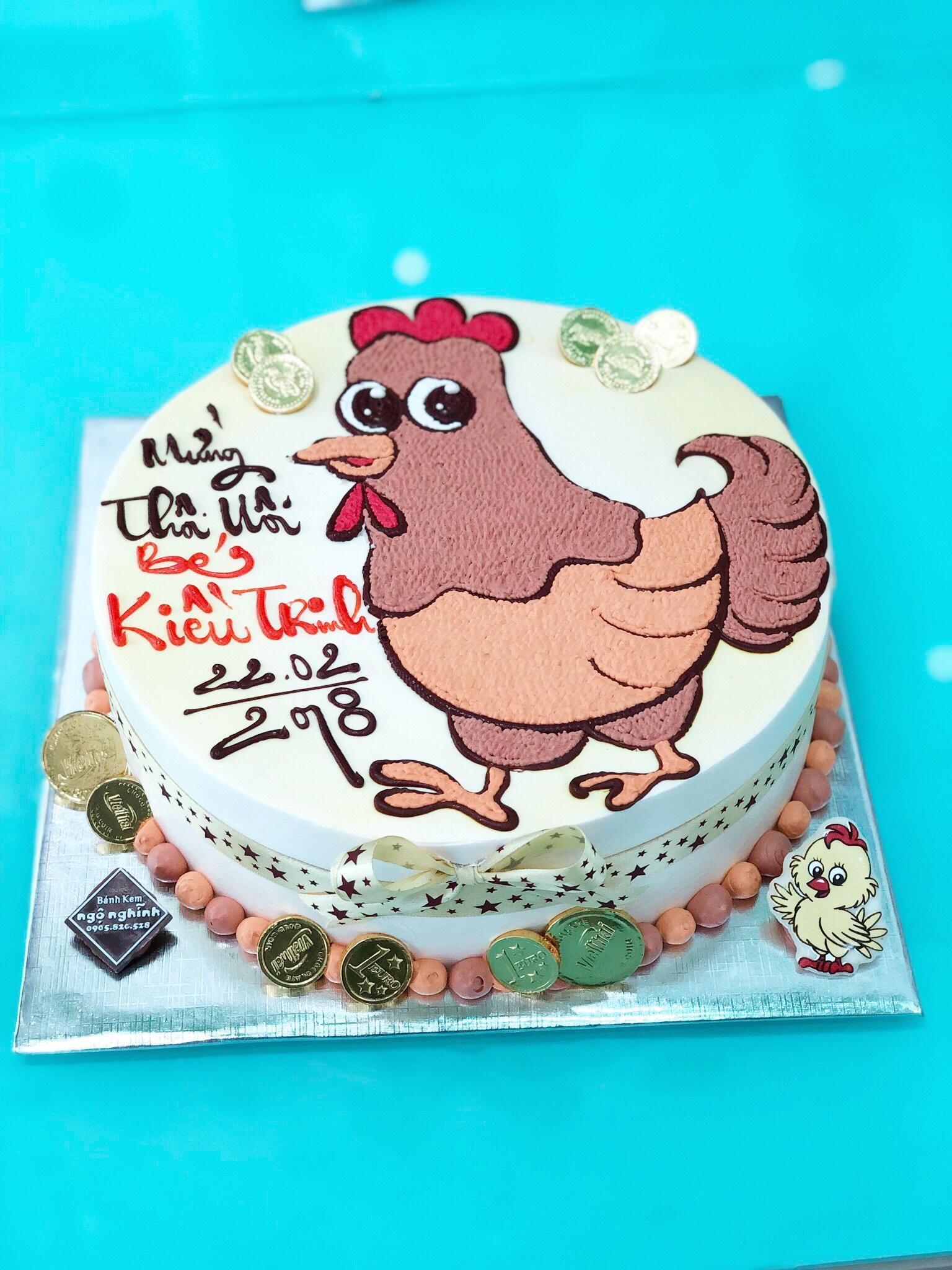 Bánh sinh nhật vẽ hình con gà mái ngộ nghĩnh dễ thương ...