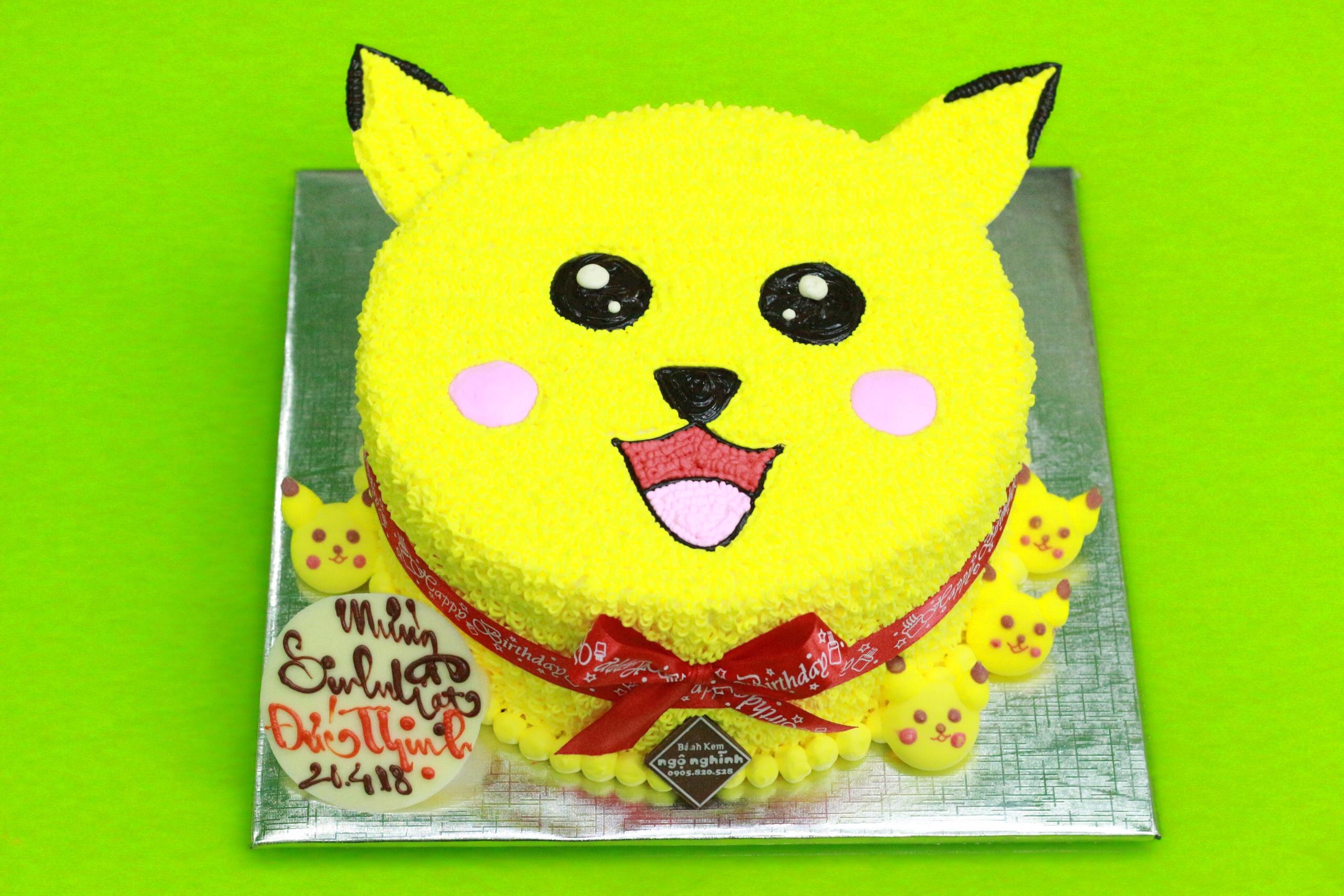 Bánh kem ngộ nghĩnh tạo hình 3d mặt pikachu màu vàng đẹp ...