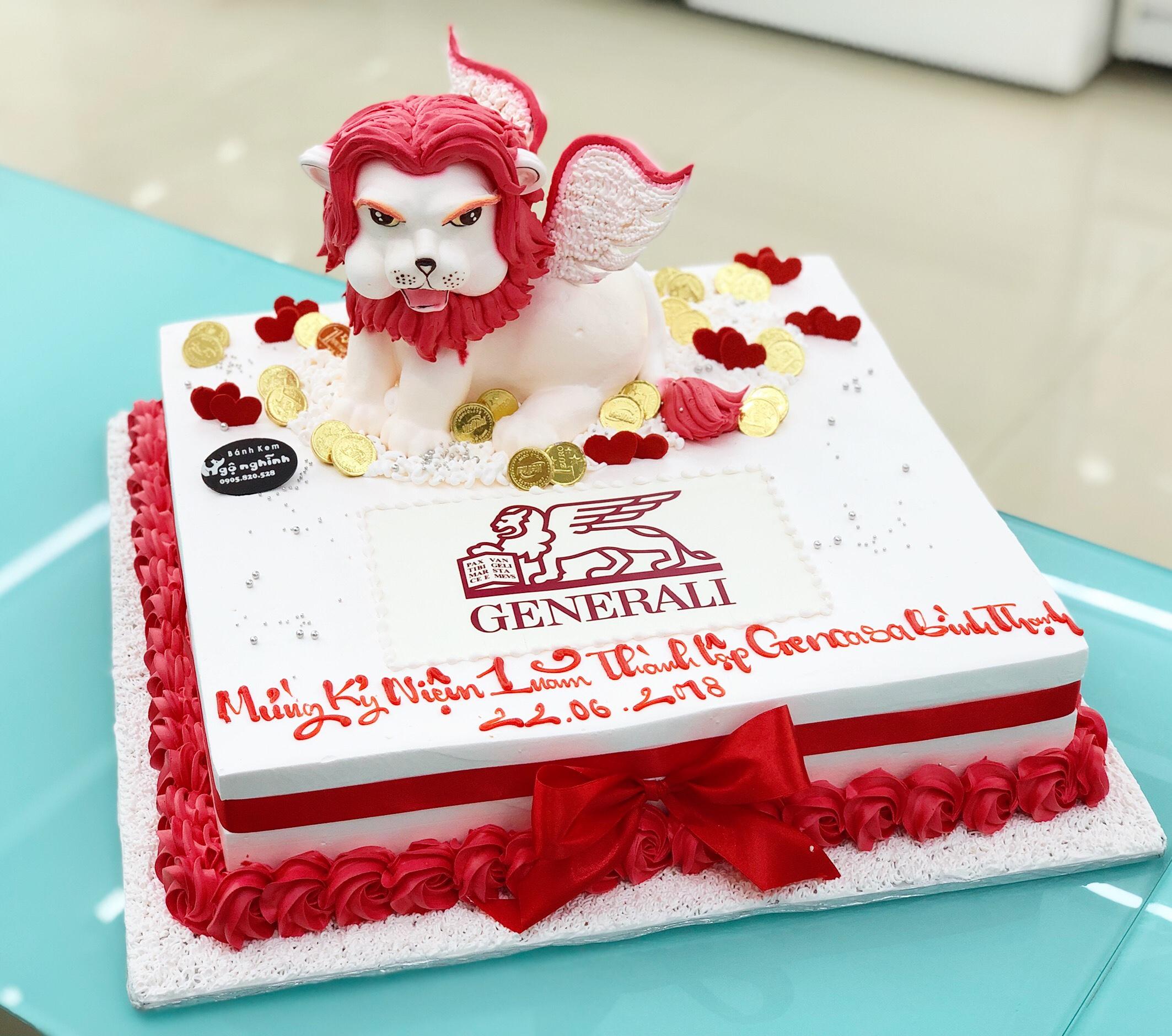 Bánh kem sinh nhật tạo hình 3d nổi con sư tử ...